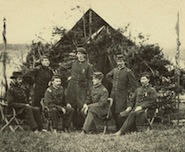 Officers in camp, 30th Maine Vol. Infantry (Hubbard Family Papers)